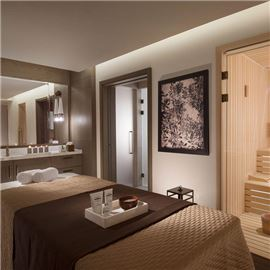 Spa room with sauna and bed