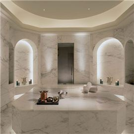 Spa room with marble wallpaper